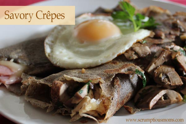 Savory Buckwheat Crêpes stuffed with chicken and garlic mushrooms, topped with a fried egg