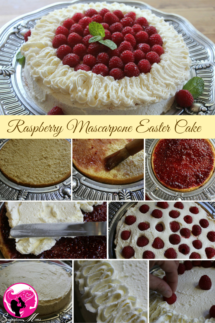 Raspberry Easter Cake graphic with baking steps