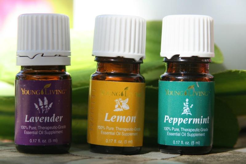 bottles of lavender, lemon and peppermint essential oils