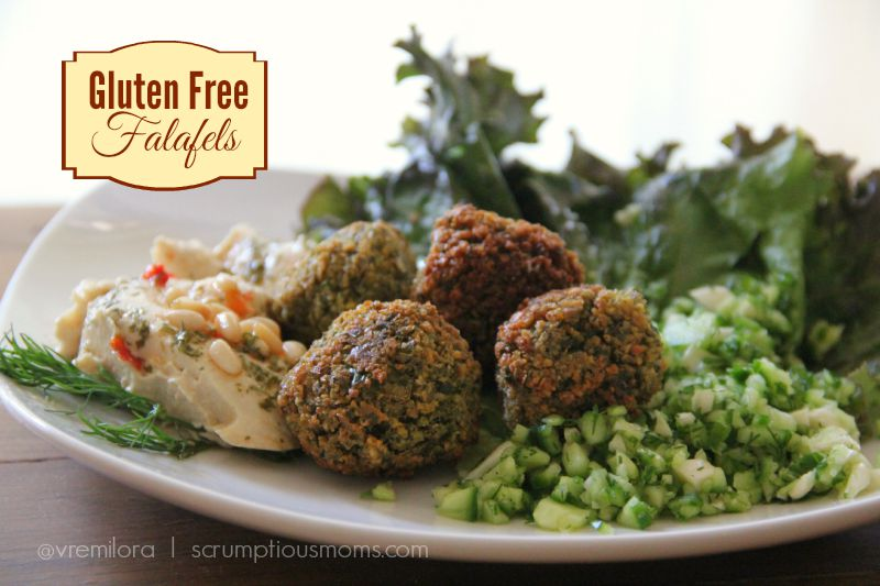 Gluten free falafels with hummus and cucumber salad