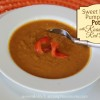 Sweet Potato Pumpkin Potage with Roasted Red Peppers