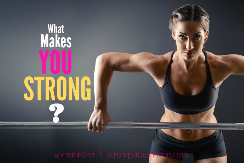 Strong woman with words 'What makes you strong?""