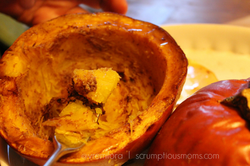 fork in cooked pumpkin