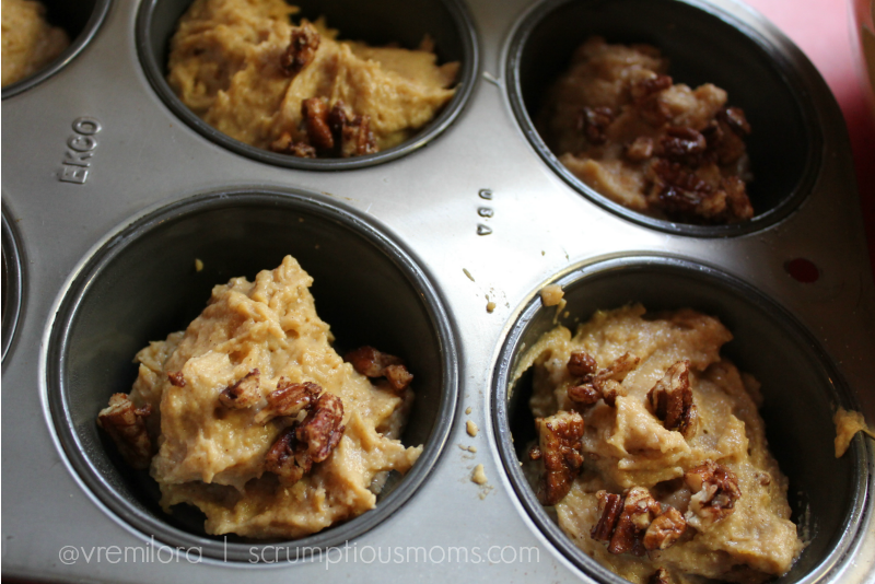 Close Up batter with Pecans in Muffin Tins