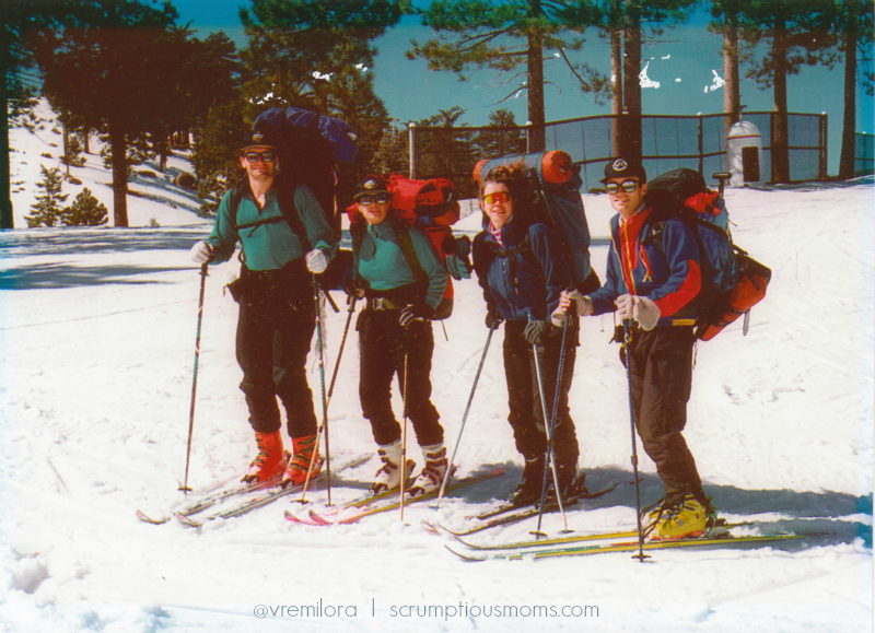 Skiers with Backpacks