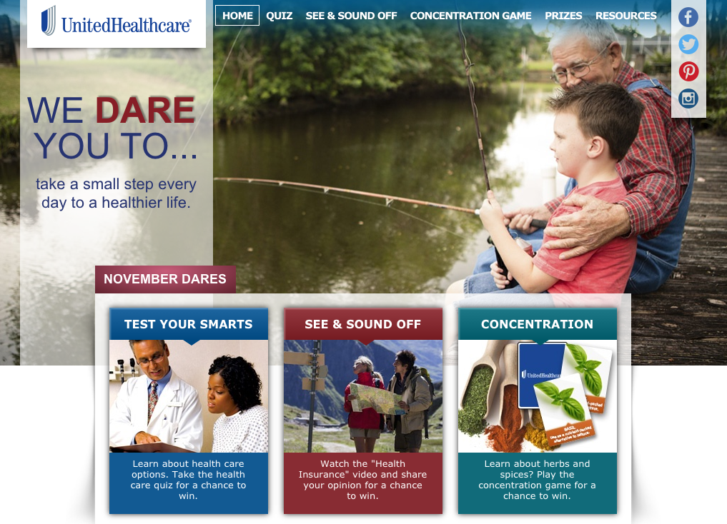 United Healthcare November Dares graphic
