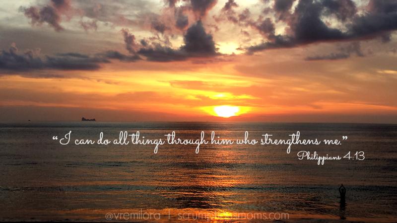 Philippians 4:13 quote over sunset