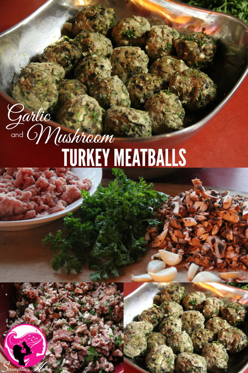 Garlic and mushroom turkey meatballs photo with prep. details