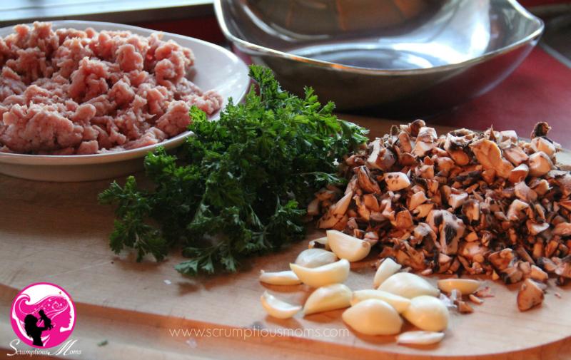 Garlic and mushroom meatballs ingredients