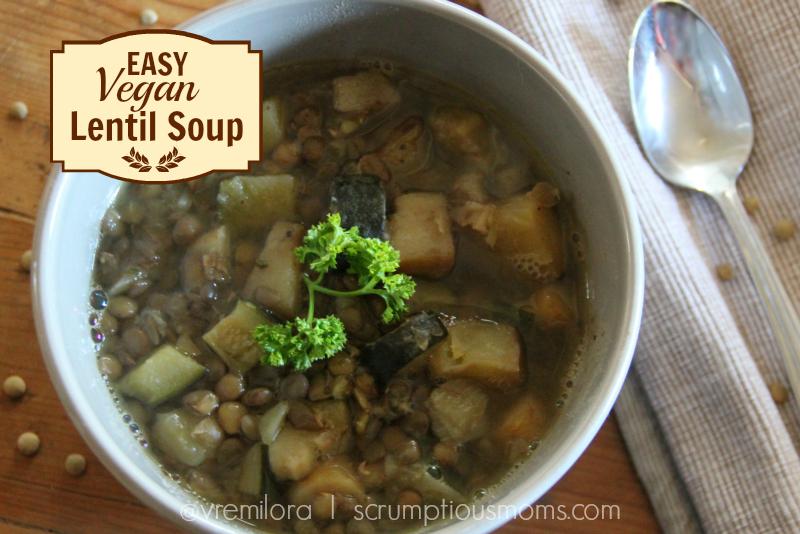 Easy vegan lentil soup title image