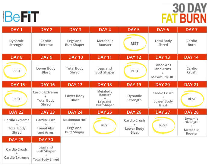 BeFit 30 Day Workout Calendar