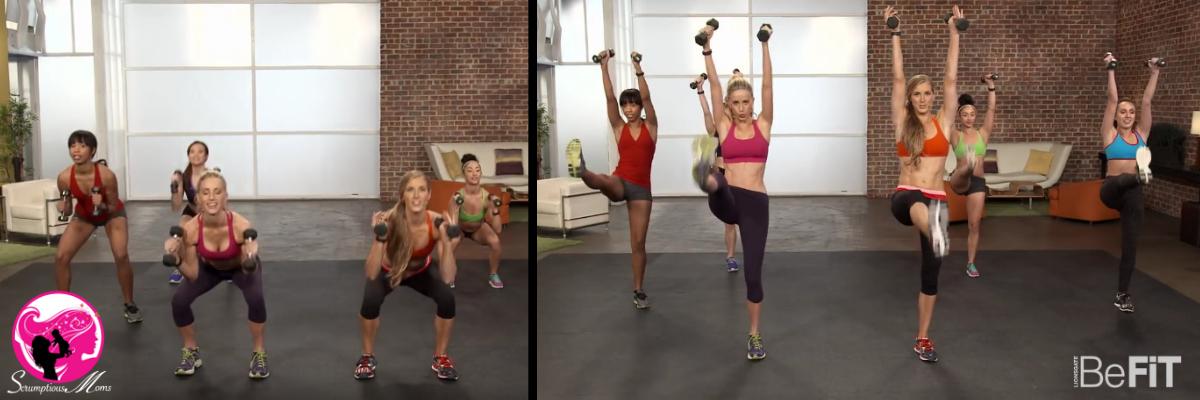 BeFit video composite squat push press kick