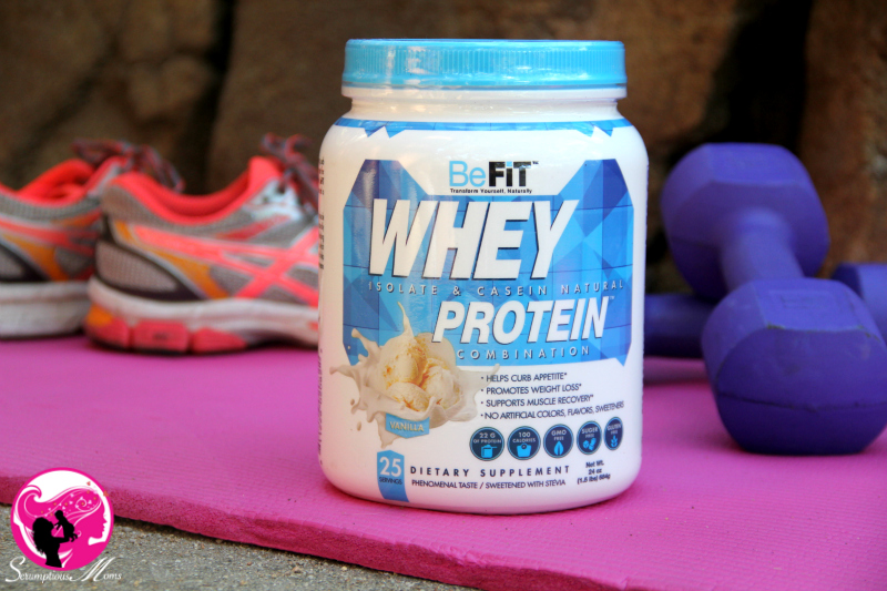 BeFit Vanilla whey protein canister