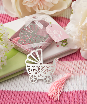 Silver baby carriage bookmark