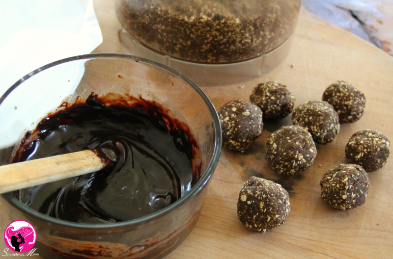 Amazing Grass PB balls and melted chocolate