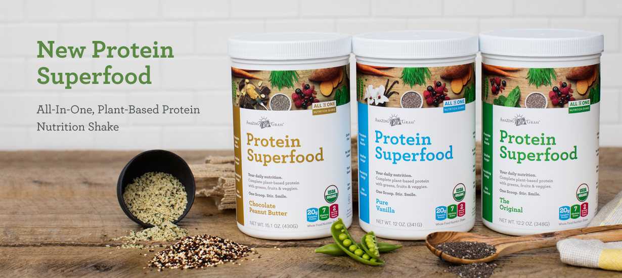Amazing Grass Protein Superfood Trio of flavors