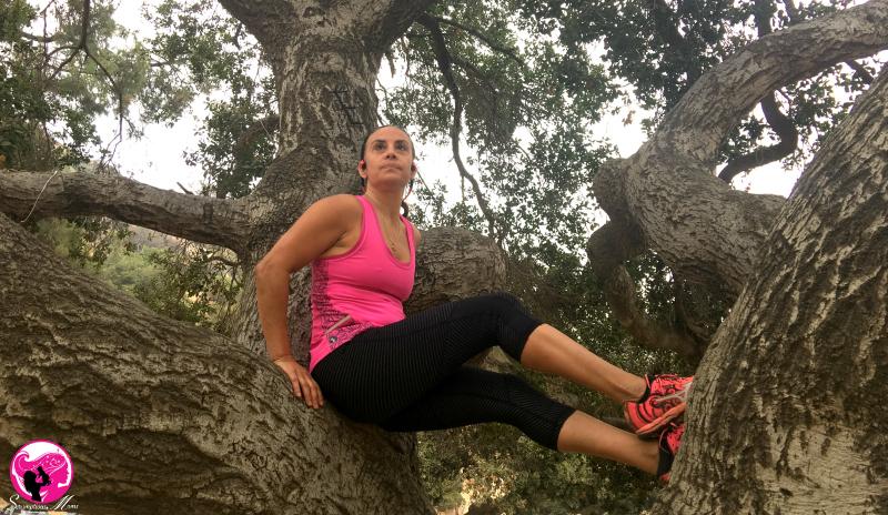 Treetop peace with Pink Trekz titanium headphones -