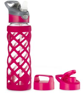 Glass water bottle with 3 lids