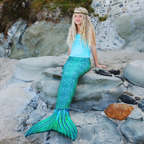 Teal mermaid tail and monofin